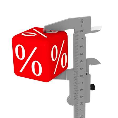 The caliper measures a red cube with percent symbols. Isolated. 3D Illustration