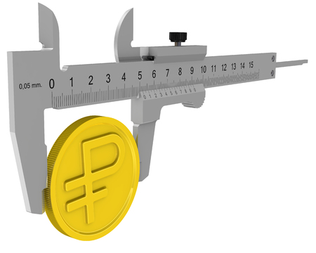 Measurement of profit in Russian rubles. Caliper measures the golden coin with the symbol of the Russian ruble. Financial concept. Isolated. 3D Illustration