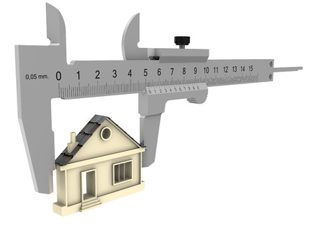 Measuring the parameters of the house. The caliper measures the symbol of the house. Isolated. 3D Illustration