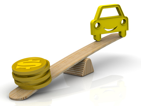 Money for the car. Gold coins with the symbol of the American dollar and the symbol of the vehicle weighed on the scales. Money outweighs the car. The concept of expensive maintenance or buying a car. Isolated. 3D Illustration