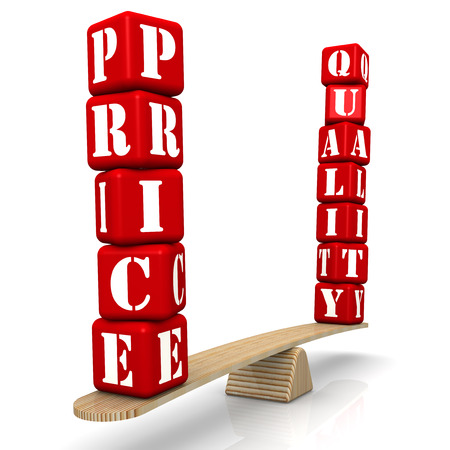 Price corresponds to quality. Comparison on the scales. The words PRICE and QUALITY, made of red bricks, are weighed in the balance. Isolated. 3D Illustration