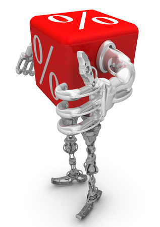 Excellent percentage. Red cube with symbols of number in a cyborg style, Isolated. 3D Illustration