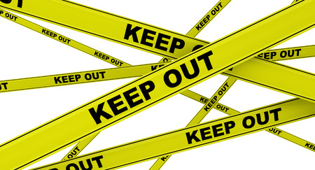 Keep out. Yellow warning tapes with KEEP OUT text. Isolated. 3D illustration Archivio Fotografico