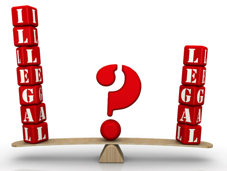 Illegal or legal? The problem of choice. The words ILLEGAL and LEGAL, made of red cubes, are Concept of choice. Isolated. 3D illustration Stock Photo