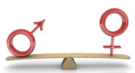 Los símbolos del macho y la hembra se pesan en la balanza. Comparación cuantitativa de machos y hembras en escalas. Concepto. Ilustración 3D Foto de archivo