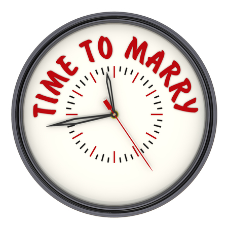 Time to marry. Clock with text. Analog Clock with red text TIME TO MARRY. Isolated. 3D illustration Foto de archivo