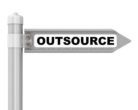 Outsource. Way mark. Road sign with black word OUTSOURCE. Isolated. 3D illustration