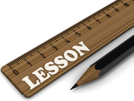 Wooden ruler labeled with white word LESSON and black pencil on white surface. 3D Illustration Foto de archivo