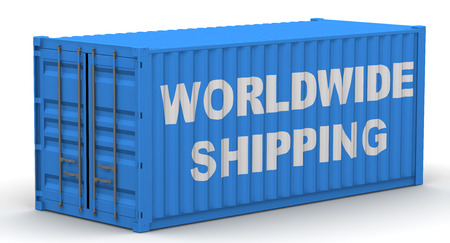 Freight container on a white surface with text WORLDWIDE SHIPPING. Isolated. 3D Illustration Stock Photo