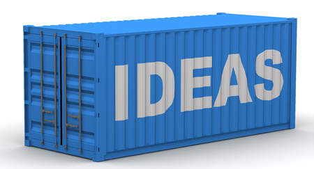Freight container on a white surface with text IDEAS. Isolated. 3D Illustration Stock Photo