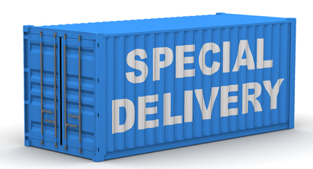 Freight container on a white surface with text SPECIAL DELIVERY. Isolated. 3D Illustration
