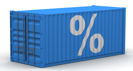 Freight container on a white surface with white symbol of percentage. Isolated. 3D Illustration