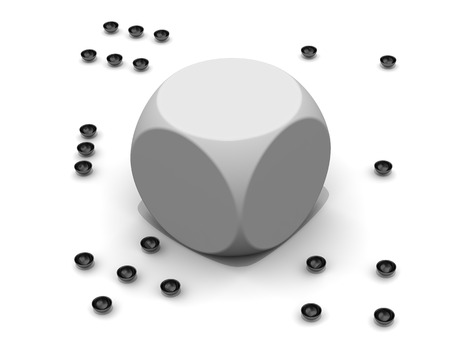 Broken dice without black dots. White dice with fallen black dots on a white surface. 3D illustration 免版税图像