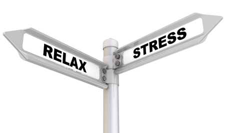 Relax or Stress. Way mark. Road sign with black words RELAX and STRESS. Isolated. 3D illustration Stock fotó