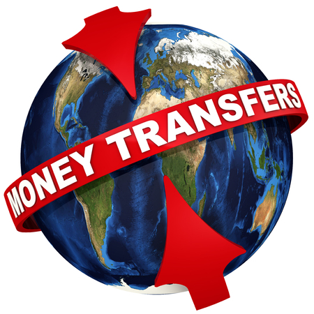 Worldwide money transfers. Red arrows emphasize the inscription MONEY TRANSFERS on the background of the globe. 3D illustration