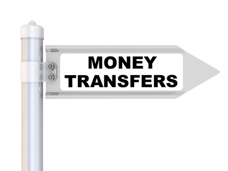 Road sign with black text MONEY TRANSFERS. Isolated. 3D Illustration Reklamní fotografie