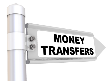 Road sign with black text MONEY TRANSFERS. Isolated. 3D Illustration 스톡 콘텐츠