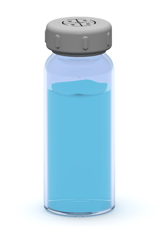 A glass vial with liquid medicine stands on a white surface. 3D Illustration