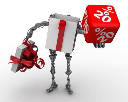 Open gift box in the form of cyborg (with legs and arms) standing on the white surface and holds red cube labeled with 20 percentages. Isolated. 3D Illustration Banque d'images