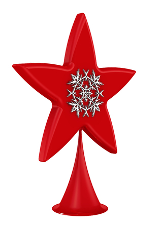Red Christmas tree star topper with snowflake isolated on white bacground. 3D Illustration