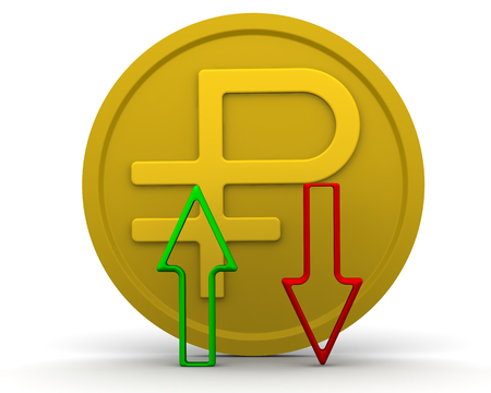 Gold coin with the symbol of the Russian currency (ruble) and arrows (green and red) on white surface. 3D Illustration