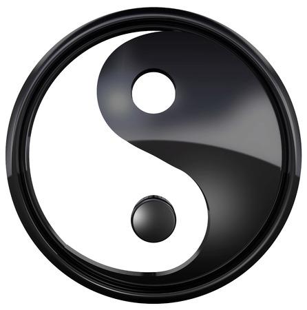 Le symbole Yin Yang isolé sur fond blanc. Le yin yang est un symbole particulier d'équilibre et d'harmonie. Illustration 3D Banque d'images