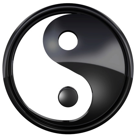 The Yin Yang symbol isolated on white background. The yin yang is a special symbol of balance and harmony. 3D Illustration