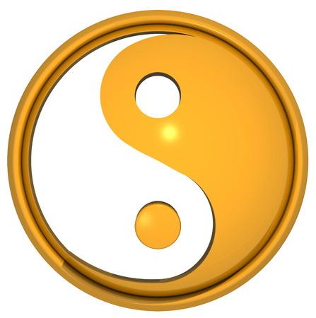 Le symbole Yin Yang isolé sur fond blanc. Le yin yang est un symbole particulier d'équilibre et d'harmonie. Illustration 3D