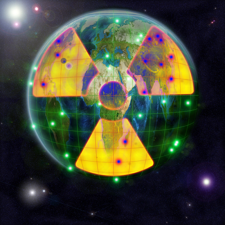 A yellow sign of radioactive danger with epicenters of radioactive contamination against the backdrop of the globe in space. 3D Illustration Stock Photo