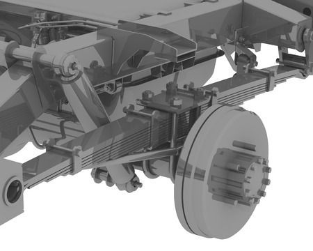 Three-dimensional illustration of a fragment of the rear suspension of a car with a carrier frame. 3D Illustration Фото со стока