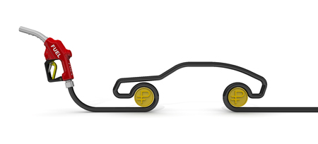 Car fuel nozzle, the hose in the form of the car symbol and coins of the Russian ruble on a white surface. Isolated. 3D Illustration 免版税图像