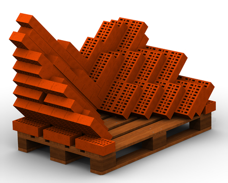 Ceramic red bricks stacked on a pallet. Isolated. 3D Illustration
