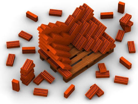 Ceramic red bricks stacked on a pallet. Isolated. 3D Illustration Banco de Imagens - 113120715