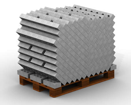 Silicate bricks stacked on a pallet. The full pallet of bricks. Isolated. 3D Illustration Banco de Imagens - 113120717