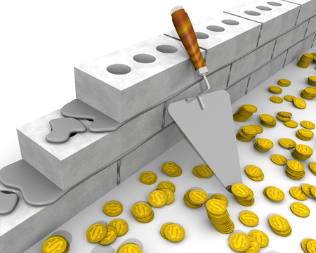 A trowel, masonry made of silicate bricks and gold coins with symbol of US dollar on a white surface. Isolated. 3D Illustration