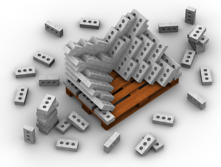 Silicate bricks stacked on a pallet. Isolated. 3D Illustration Banco de Imagens