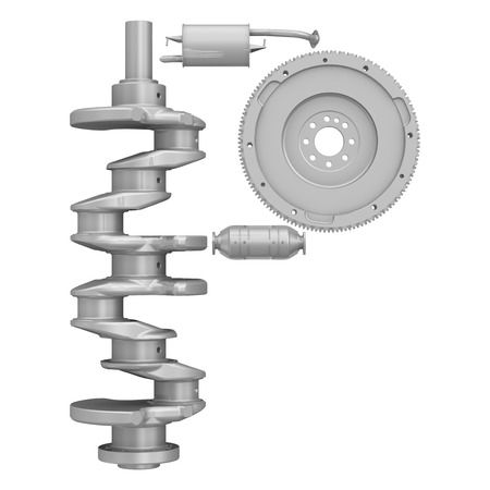 The letter of the alphabet -P- composed of a crankshaft, a flywheel and elements of the vehicle engine exhaust system. Isolated. 3D Illustration