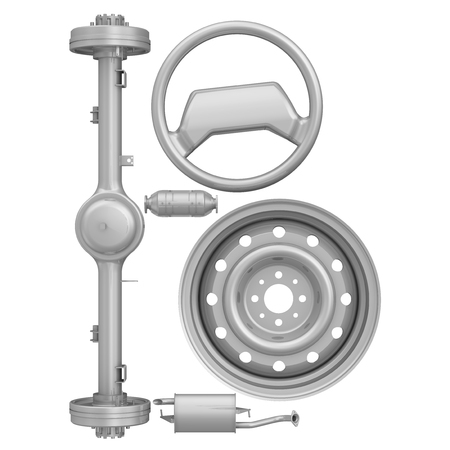 The letter of the alphabet -B- composed of rear axle, elements of the vehicle engine exhaust system, a steering wheel and a car wheel. Isolated. 3D Illustration 版權商用圖片