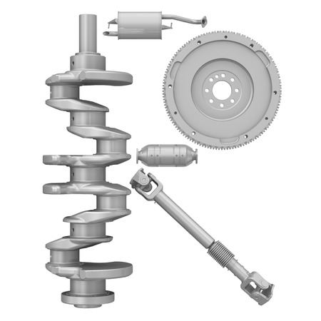 The letter of the alphabet -R- composed of a crankshaft, a flywheel, a cardan drive shaft and elements of the vehicle engine exhaust system. Isolated. 3D Illustration