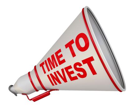 Es hora de invertir. El megáfono etiquetado