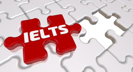 Red puzzle with word IELTS