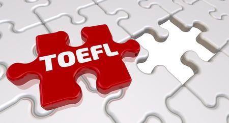 Gefaltete weiße Puzzleelemente und ein rotes mit Wort TOEFL. 3D-Illustration Standard-Bild