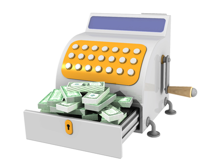 Cash register filled with american dollars