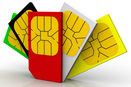 Multicolored SIM cards on white surface. Isolated. 3D Illustration Stock Photo