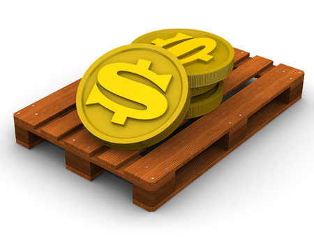 Gold coins with the symbol of the American dollar on the pallet