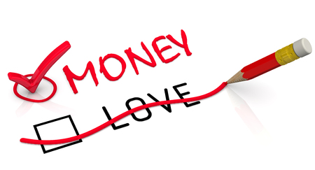 Red pencil crossed out the word LOVE and wrote the red word MONEY. Isolated. 3D Illustration