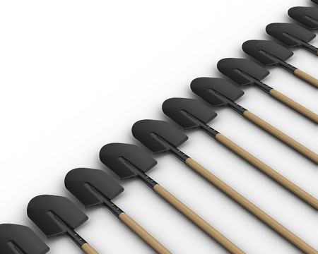 The shovels in a row