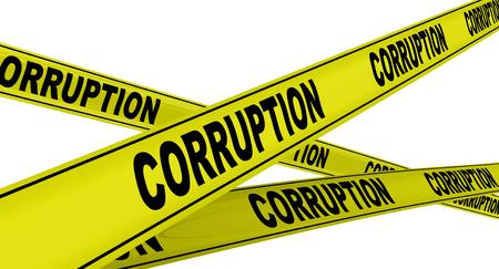 Corruption. Yellow warning tapes