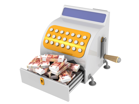 The cash register filled with Russian rubles Stock Photo