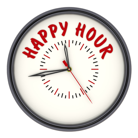 The analog clock with red text HAPPY HOUR. Isolated. 3D Illustration